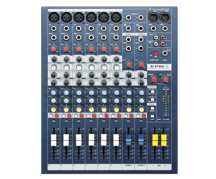 MIXPULT-SOUNDCRAFT 6x mic.,2x st.,2x aux